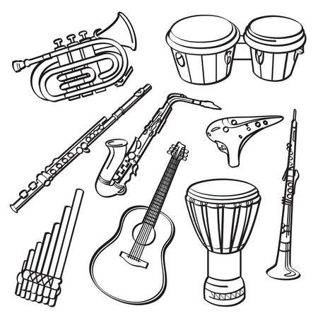clarinete: Instrumentos musicales Vectores