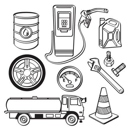 tanque de combustible: Sector de Petróleo Icon Set