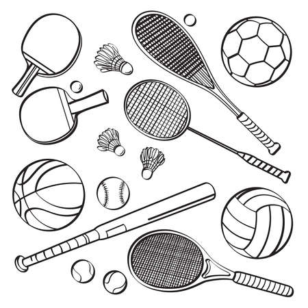 table tennis: Sports Equipment Collections Illustration