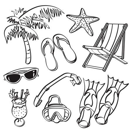 illustration line art: Summer Beach Elements