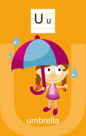 umbrella rain: Character U Cartoons Illustration