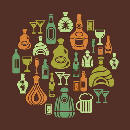 clip art wine: Alcohol Icons in Circle Shape