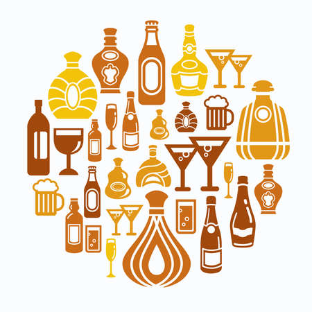 wines: Alcohol Icons in Circle Shape