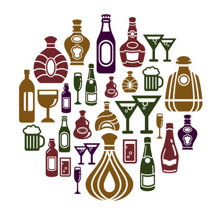 Alcohol Icons in Circle Shape Vector