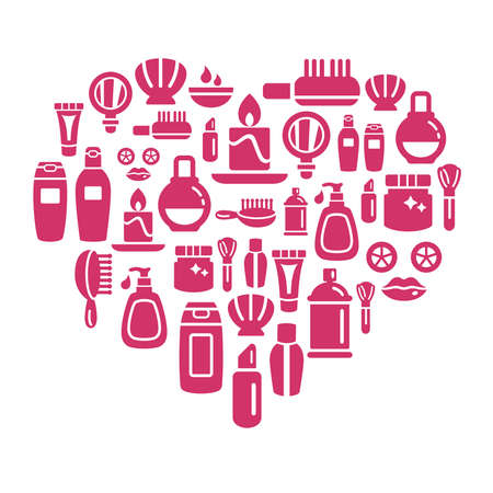 toiletries: Beauty and Cosmetic Icons in Heart Shape Illustration