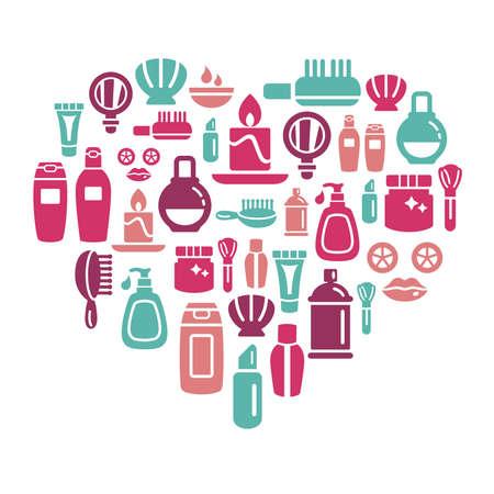 productos de aseo: Belleza y cosméticos iconos en forma de corazón Vectores