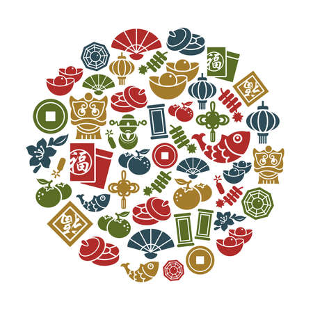 Chinese New Year Icons in Circle Shape Vector