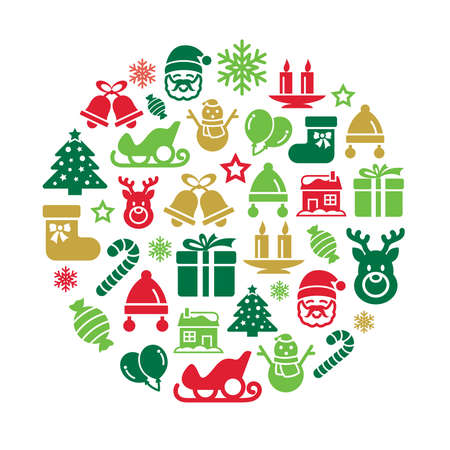 santa moose: Christmas Element Icons in Circle Shape Illustration