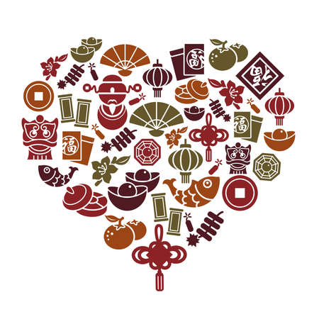 Chinese New Year Icons in Heart Shape Vector
