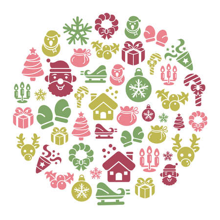 car ornament: Christmas Element Icons in Circle Shape Illustration