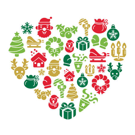 Christmas Element Icons in Heart Shape Vector