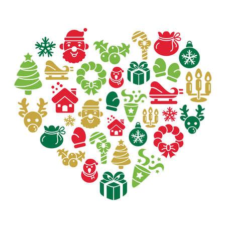 casita de dulces: Iconos de la Navidad Elemento en forma de corazón