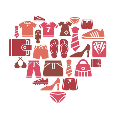 knickers: Clothing and Accessories Icons in Heart Shape