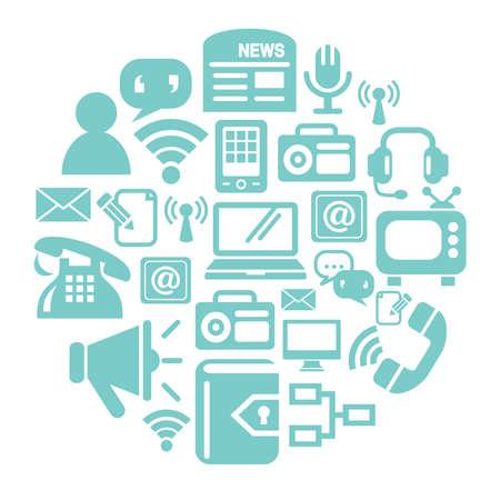 wireless communication: Communication Icons in Circle Shape