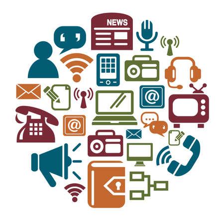 Communication Icons in Circle Shape