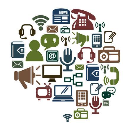communications technology: Communication Icons in Conversation Shape