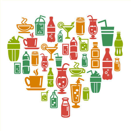 Drinks Icons in Heart Shape Vector