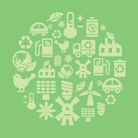 recycling center: Environmental Protection Icons in Circle Shape Illustration