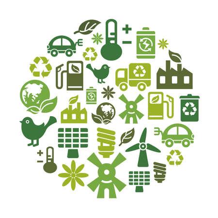 calentamiento global: Iconos de la protecci�n del medio ambiente en forma de c�rculo