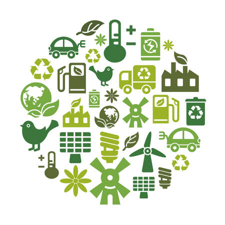 Environmental Protection Icons in Circle Shape Illustration
