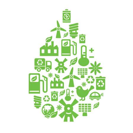 kompost: Umweltschutz Symbole in Tropfen-Form Illustration