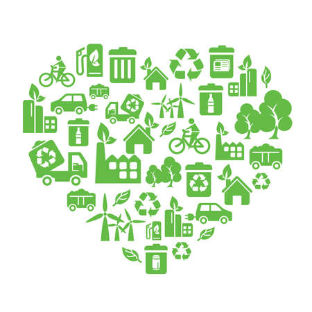 Environmental Protection Icons in Heart Shape Vector