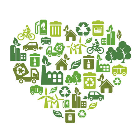 recursos naturales: Iconos de la protección del medio ambiente en forma de corazón Vectores