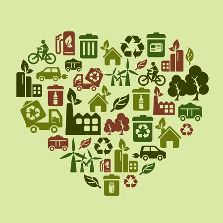 Environmental Protection Icons in Heart Shape