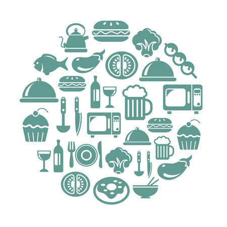 Food and Drinks Icons in Circle Shape Vector