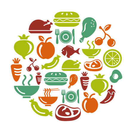 Food, Fruits and Vegetables Icons in Circle Shape Ilustracja