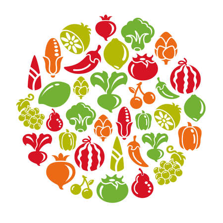 free clip art: Fruit and Vegetable Icons in Circle Shape Illustration