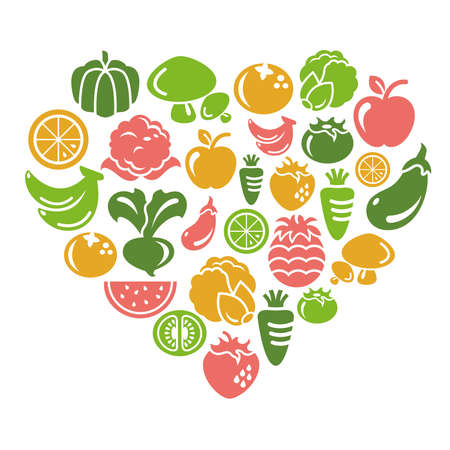 Fruit and Vegetable Icons in Heart Shape Zdjęcie Seryjne - 30441840