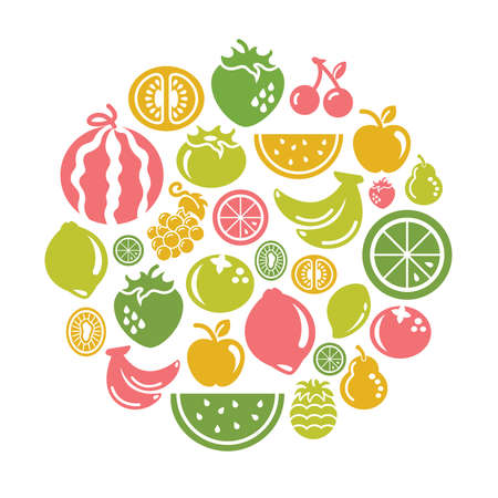 free clip art: Fruits Icons in Circle Shape
