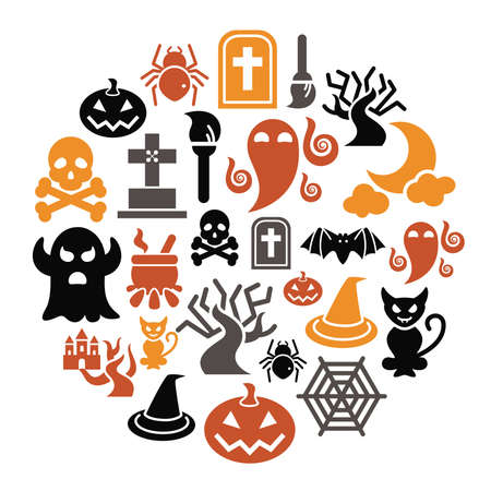 Halloween Icons in Circle Shape Vector