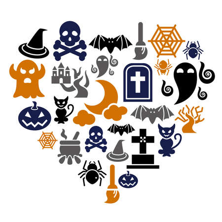 Halloween Icons in Heart Shape Vector