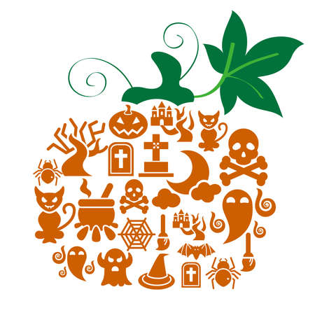 Halloween Icons in Pumpkin Shape Vector