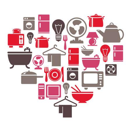 fan shaped: Houseware Icons in Heart Shape