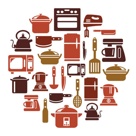 electrical appliances: Kitchen Utensils and Appliances Icons in Circle Shape