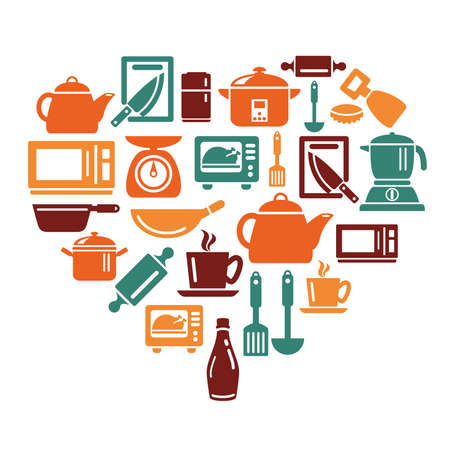 slotted: Kitchen Utensils and Appliances Icons in Heart Shape Illustration