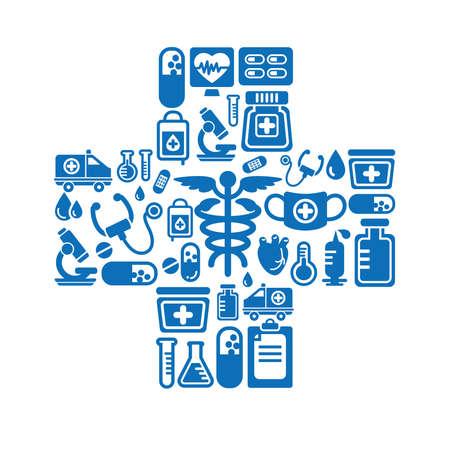 Medical Icons en Croix Vecteurs