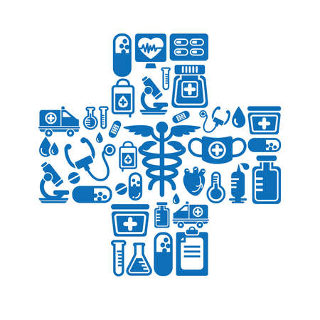 Medical Icons in Cross Shape Vector