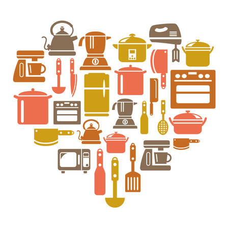 houseware: Kitchen Utensils and Appliances Icons in Heart Shape Illustration
