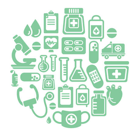 Medical Icons in Circle Shape Vector