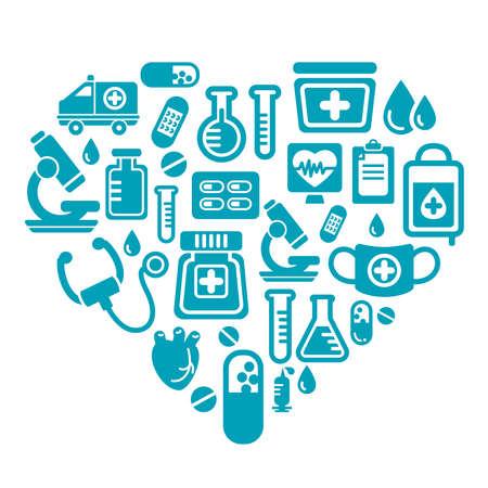 pressure bottle: Medical Icons in Heart Shape