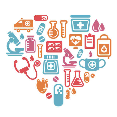 Medical Icons in Heart Shape Vector