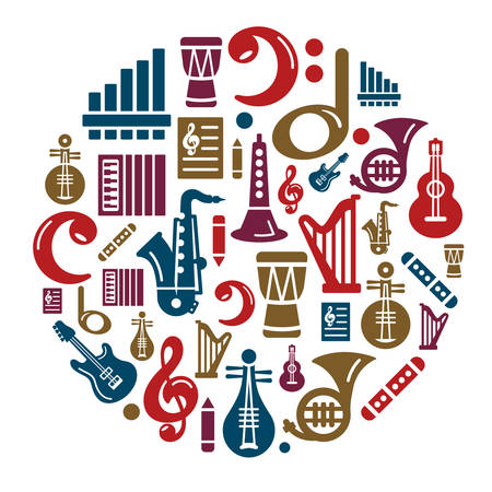 Music Icons in Circle Shape Ilustração