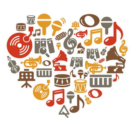 harmonica: Music Icons in Heart Shape