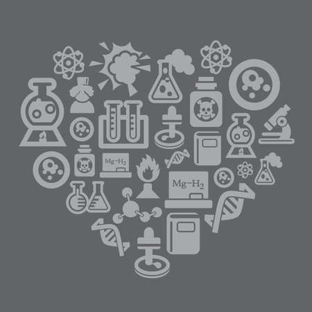 pressure bottle: Science and Chemistry Icons in Heart Shape Illustration