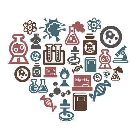 Science and Chemistry Icons in Heart Shape Ilustracja