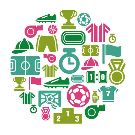 Sport Competition Icons in Circle Shape Ilustracja
